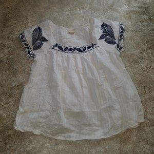 Embroidered Boho Peasant Short Sleeve Blouse